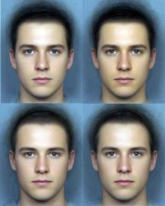 "The top row is before (left) and after (right) beta-carotene supplements. The bottom is row is before and after supplement with the ""dummy pills."" Women tend to rate the dude at the top right as 50% more attractive and healthier looking. Eat those carrots, guys! (Credit: Yong Zhi Foo)"