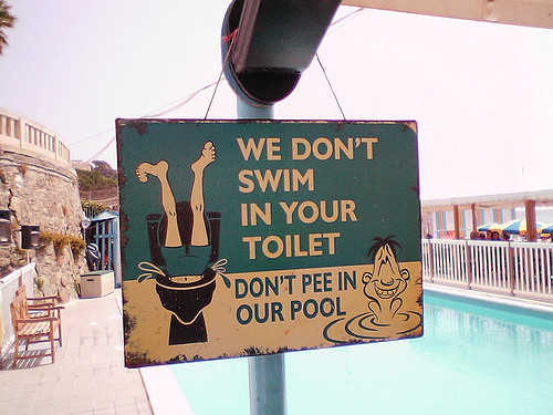 Pee in pool water is nasty and a health issue. (flickr)