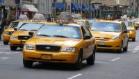 Researchers have found that yellow taxis get into fewer accidents than blue taxis. This means as a passenger, you'll less likely to get hurt in an accident in a yellow cab. (wikimedia)